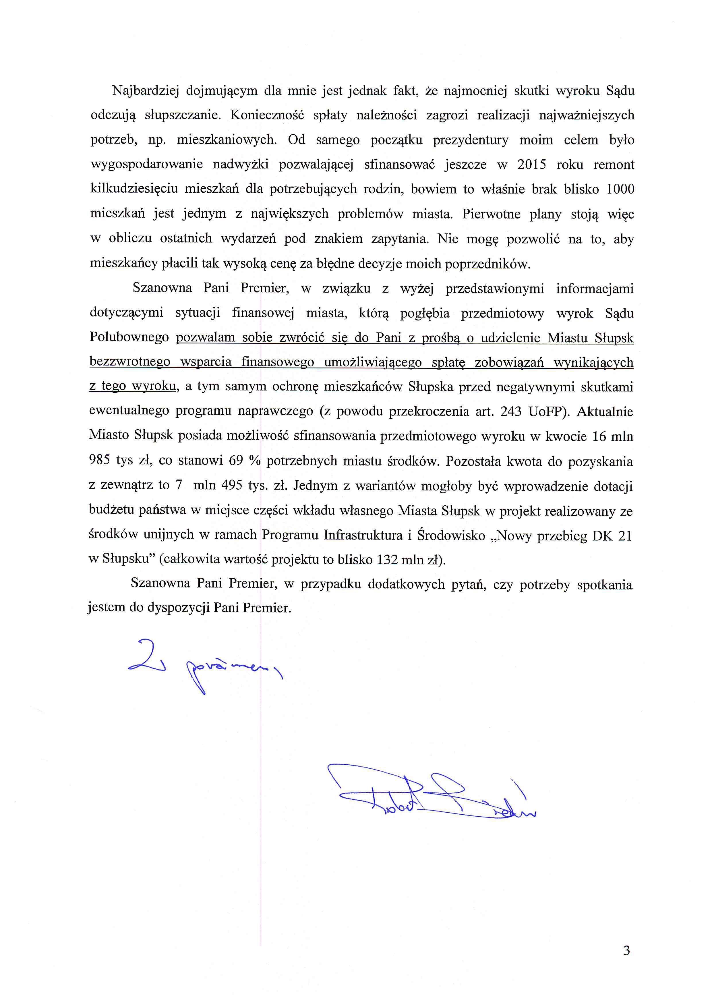 pismo do Pani premier