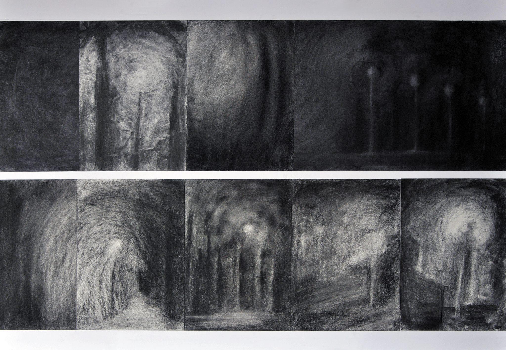 Praca konkursowa Darii Elwart pt. Listopadowe latarnie (technika węglowa)