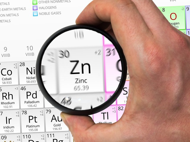 Zinc symbol - Zn. Element of the periodic table zoomed with magn